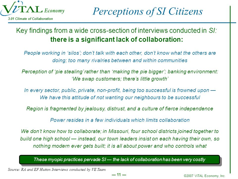 ©2007 ViTAL Economy, Inc. 11 3.01 Climate of Collaboration Perceptions of SI Citizens Key findings from a wide cross-section of interviews conducted i