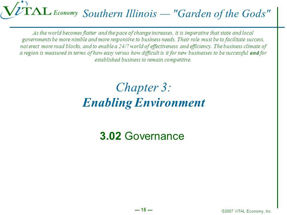 ©2007 ViTAL Economy, Inc. 15 Chapter 3: Enabling Environment 3.02 Governance Southern Illinois