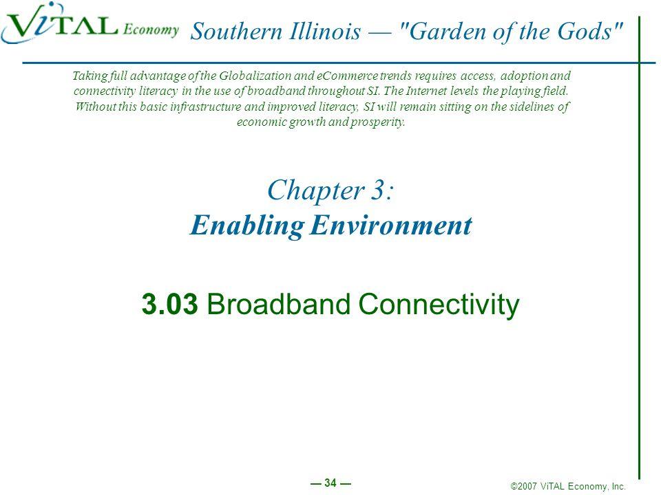 ©2007 ViTAL Economy, Inc. 34 Chapter 3: Enabling Environment 3.03 Broadband Connectivity Southern Illinois