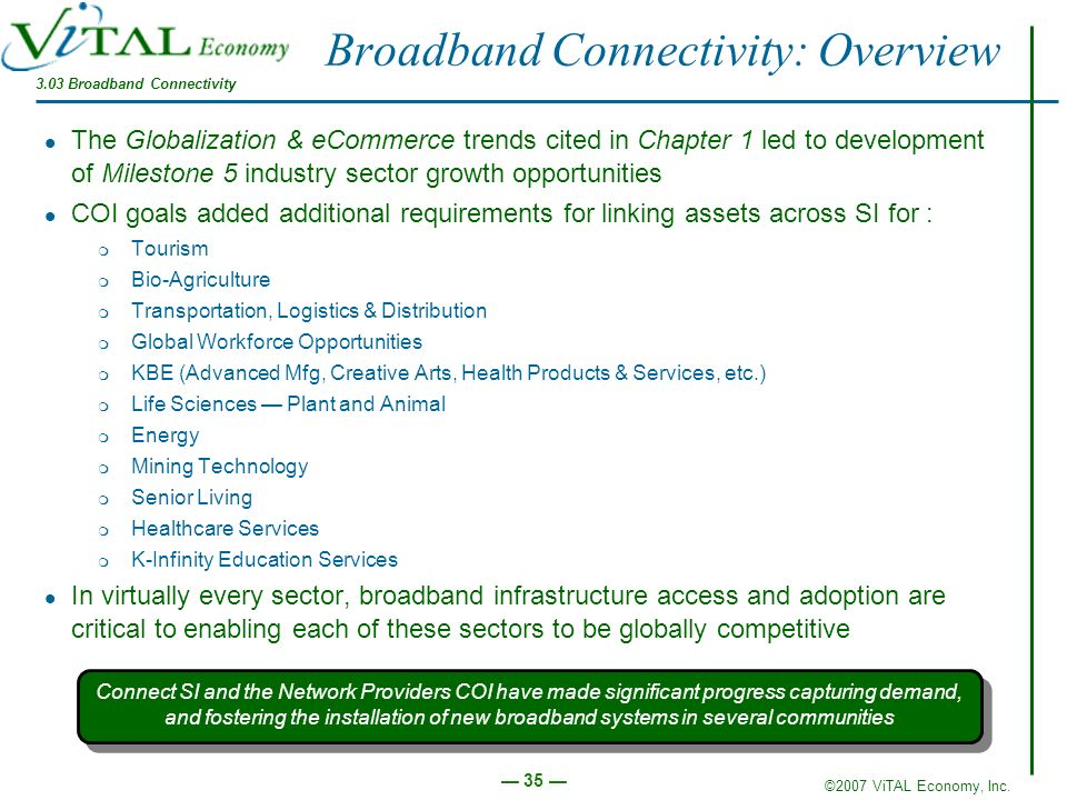 ©2007 ViTAL Economy, Inc. 35 Broadband Connectivity: Overview The Globalization & eCommerce trends cited in Chapter 1 led to development of Milestone