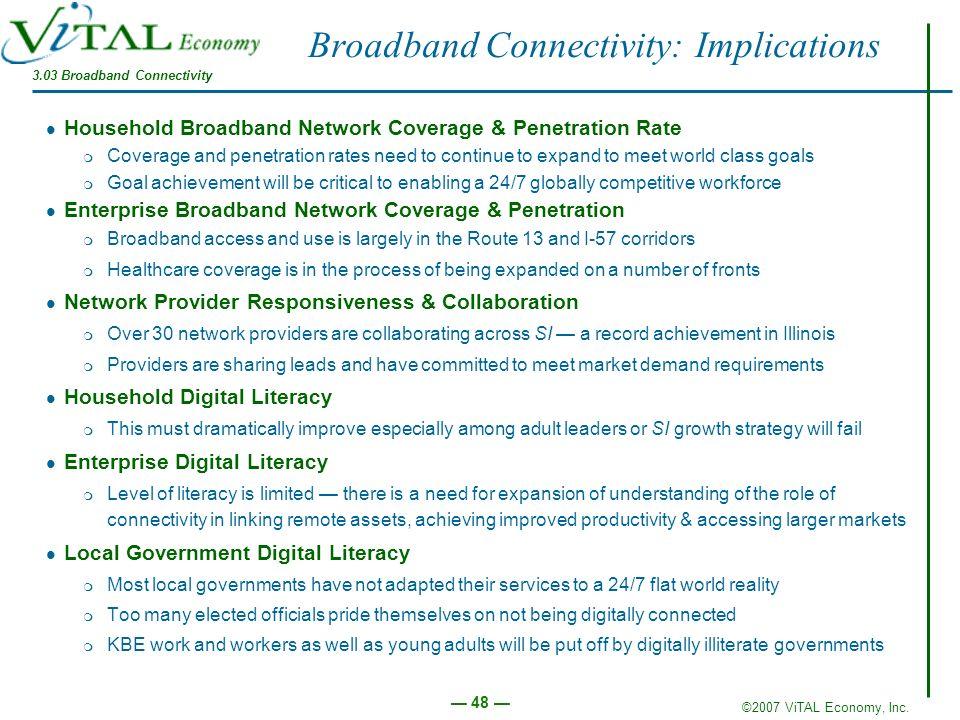 ©2007 ViTAL Economy, Inc. 48 Broadband Connectivity: Implications Household Broadband Network Coverage & Penetration Rate m Coverage and penetration r
