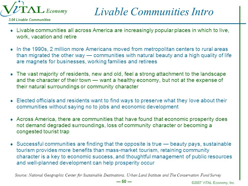 ©2007 ViTAL Economy, Inc. 50 Livable Communities Intro Livable communities all across America are increasingly popular places in which to live, work,