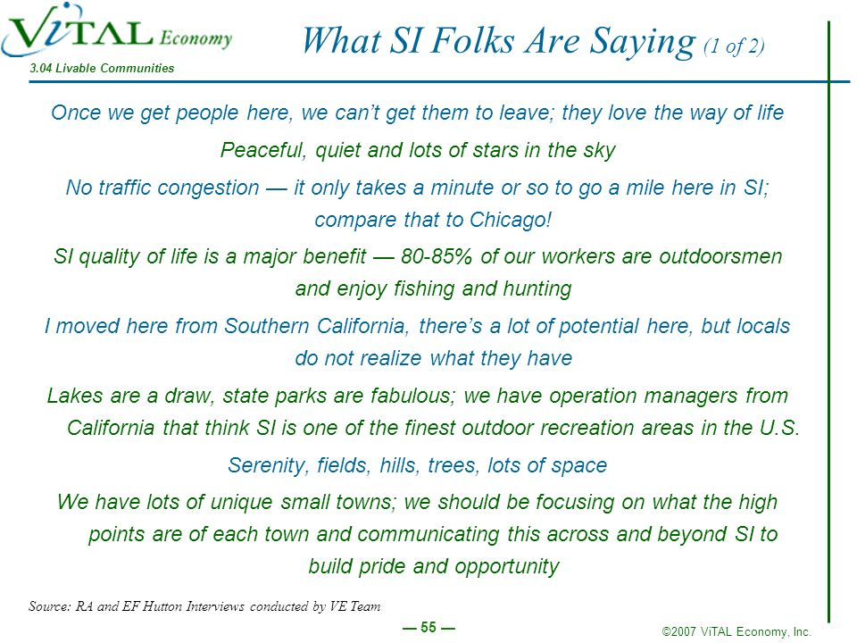 ©2007 ViTAL Economy, Inc. 55 What SI Folks Are Saying (1 of 2) Once we get people here, we cant get them to leave; they love the way of life Peaceful,