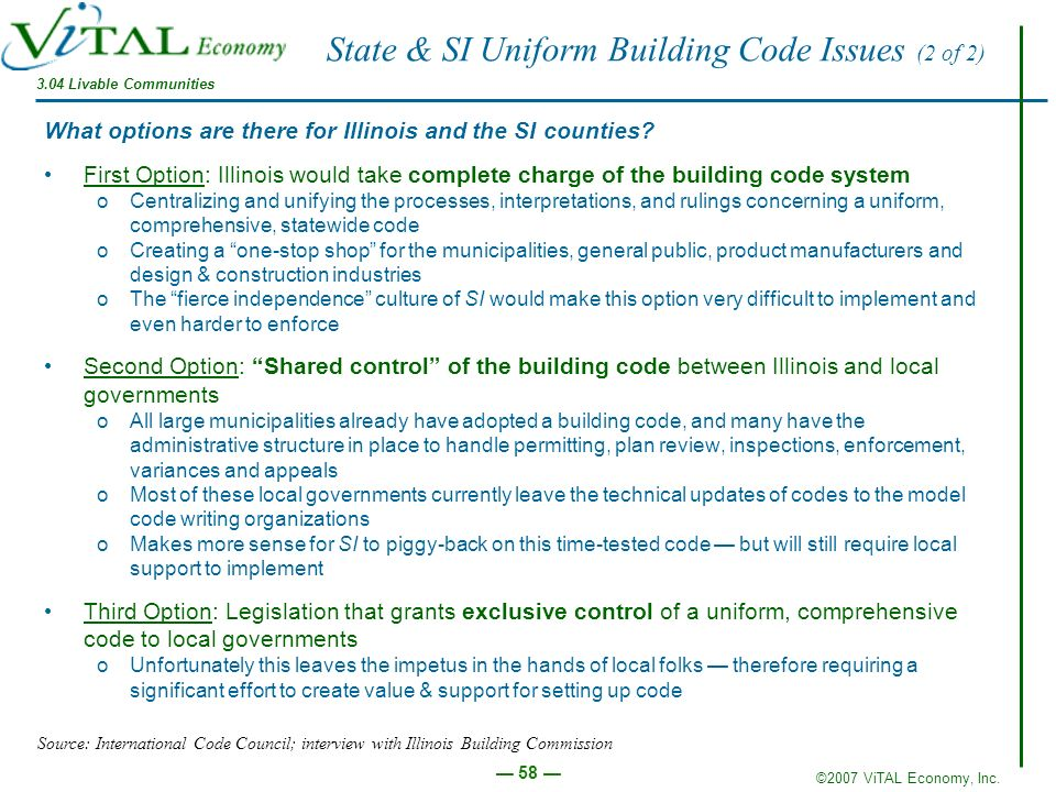©2007 ViTAL Economy, Inc. 58 State & SI Uniform Building Code Issues (2 of 2) What options are there for Illinois and the SI counties? First Option: I