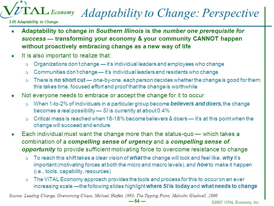 ©2007 ViTAL Economy, Inc. 64 Adaptability to Change: Perspective Adaptability to change in Southern Illinois is the number one prerequisite for succes