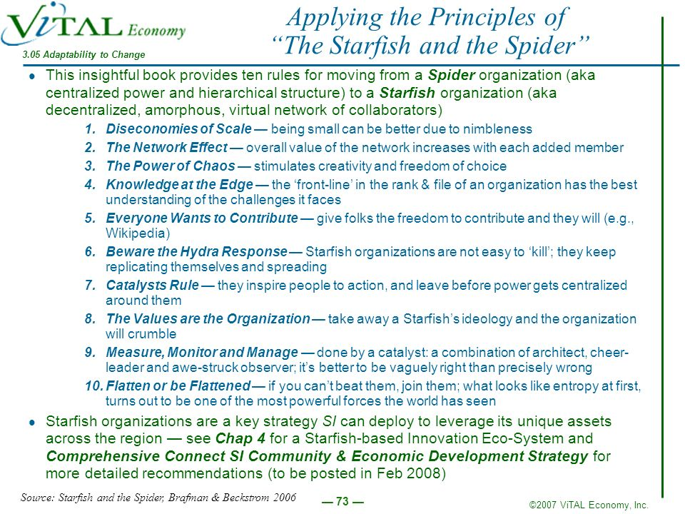©2007 ViTAL Economy, Inc. 73 Applying the Principles of The Starfish and the Spider This insightful book provides ten rules for moving from a Spider o