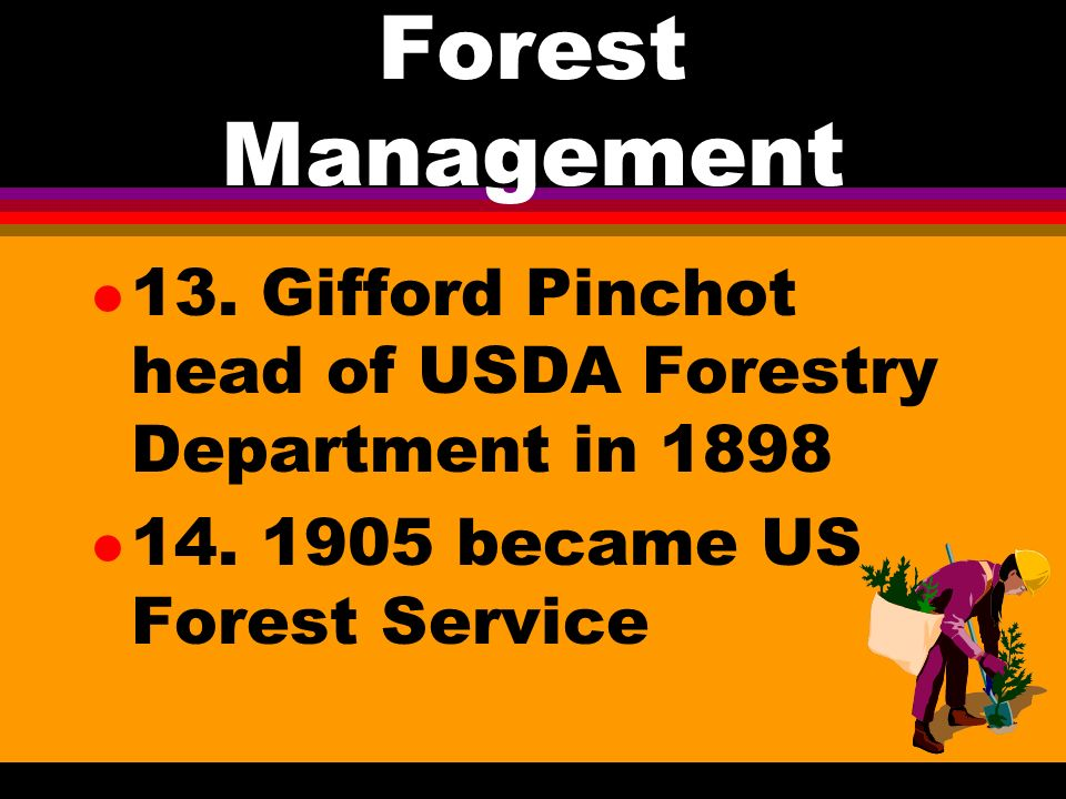 Forest Management l 12. 1891 Congress created forest reserves from public lands a. 1900 33 million acres of forest reserves b. controlled under the De