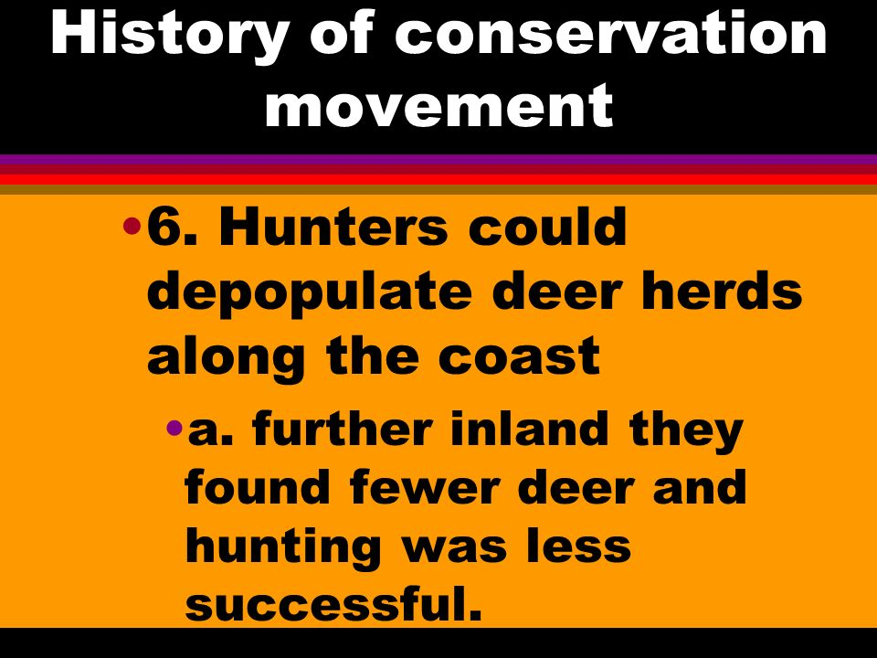 History of conservation movement 4. Marshes support large flocks of waterfowl 5. Deer, turkey, quail, and many other important game animals require cl