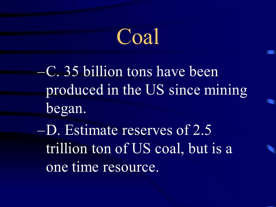 Other Resources 3.Coal –A. Most widely distributed storehouse of the suns energy. –B. First discovered in America in 1673 in Illinois.