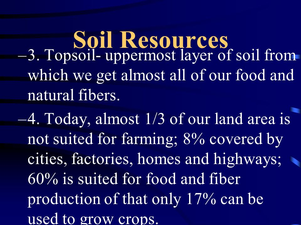 Soil Resources A. Land area –1. U.S. 3,675,545 square miles or 2.26 billion acres –2. Surface ranges from 282 feet below sea level in Death Valley to
