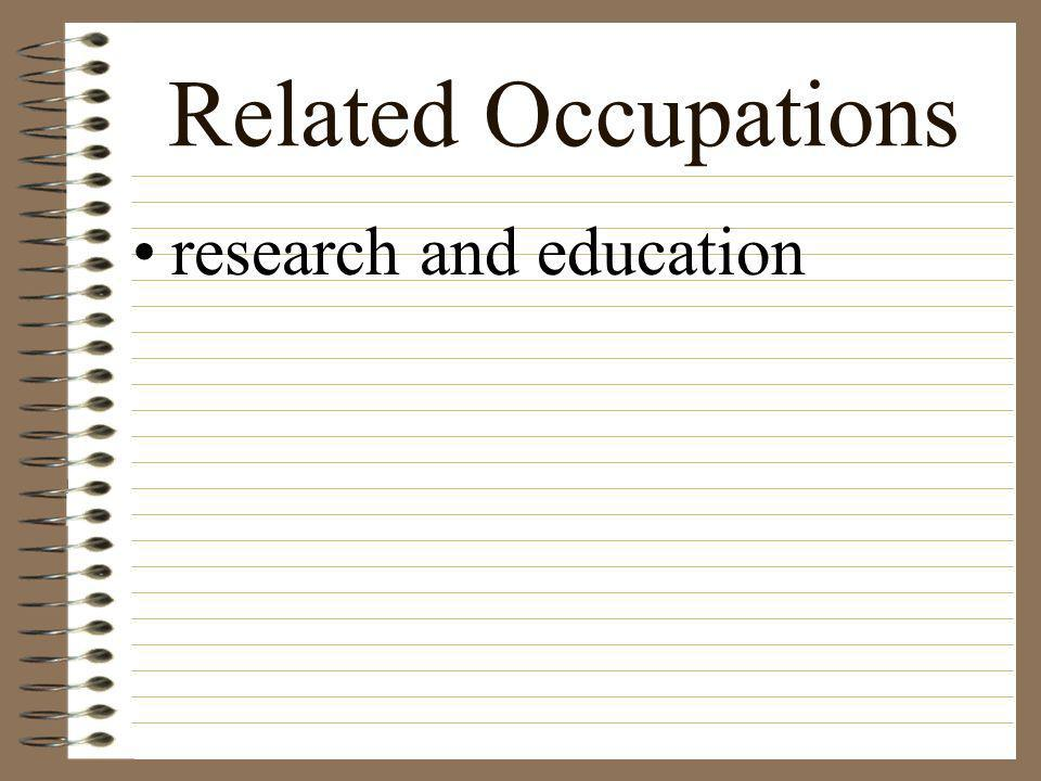 Related Occupations those areas that provide products and services necessary in the production of hort. Crops. Ex: fertilizer, pesticides, containers,