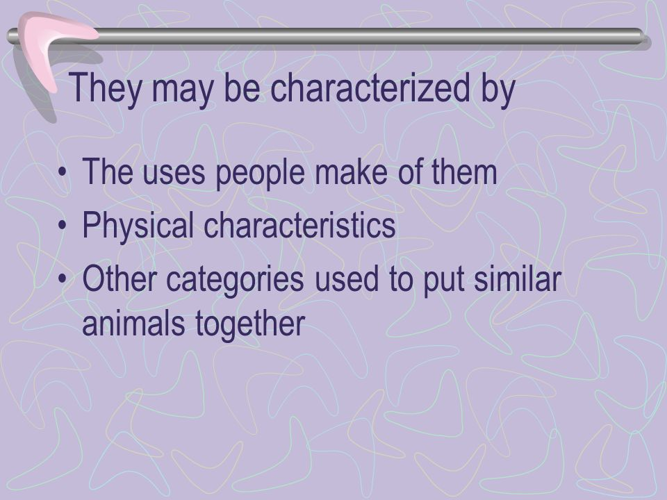 They may be characterized by The uses people make of them Physical characteristics Other categories used to put similar animals together
