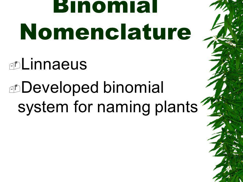 Binomial Nomenclature Linnaeus Developed binomial system for naming plants