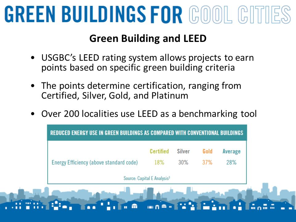 6 USGBCs LEED rating system allows projects to earn points based on specific green building criteria The points determine certification, ranging from Certified, Silver, Gold, and Platinum Over 200 localities use LEED as a benchmarking tool Green Building and LEED