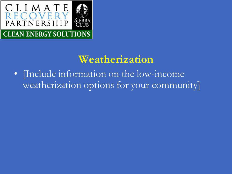 Weatherization [Include information on the low-income weatherization options for your community]