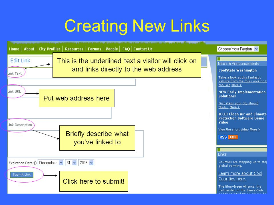 Creating New Links Put web address here This is the underlined text a visitor will click on and links directly to the web address Briefly describe wha