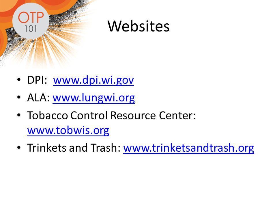 Websites DPI: www.dpi.wi.govwww.dpi.wi.gov ALA: www.lungwi.orgwww.lungwi.org Tobacco Control Resource Center: www.tobwis.org www.tobwis.org Trinkets and Trash: www.trinketsandtrash.orgwww.trinketsandtrash.org
