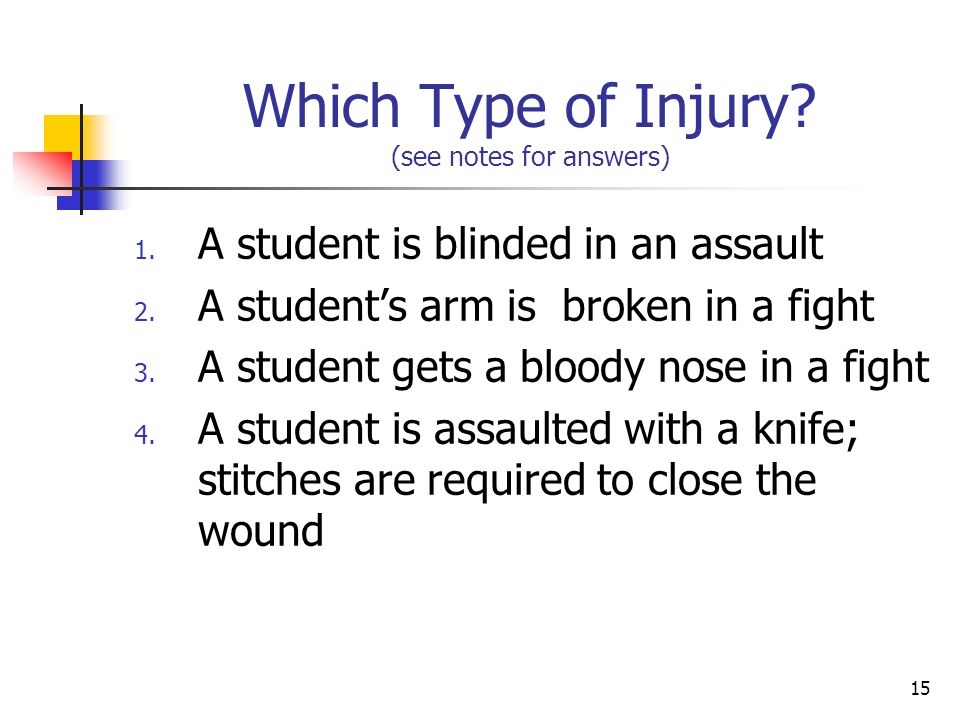 15 Which Type of Injury. (see notes for answers) 1.