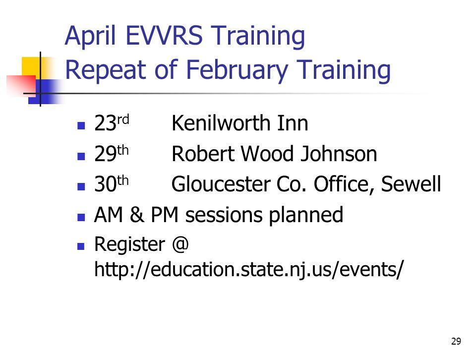 29 April EVVRS Training Repeat of February Training 23 rd Kenilworth Inn 29 th Robert Wood Johnson 30 th Gloucester Co.