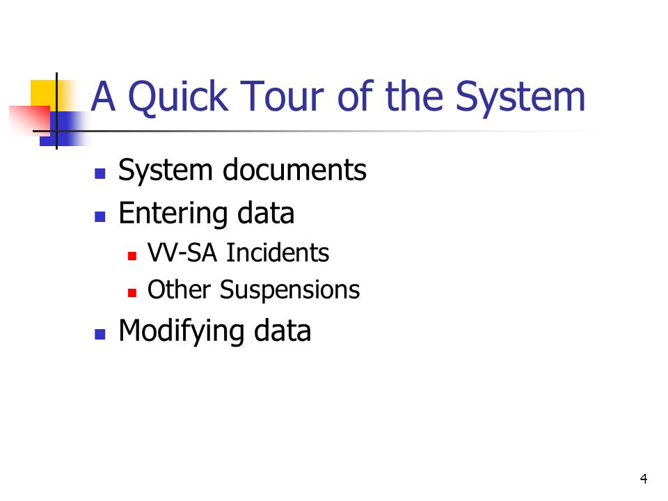 4 A Quick Tour of the System System documents Entering data VV-SA Incidents Other Suspensions Modifying data