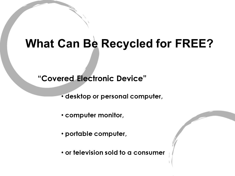What Can Be Recycled for FREE.