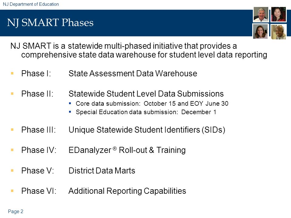 Page 2 NJ Department of Education NJ SMART Phases NJ SMART is a statewide multi-phased initiative that provides a comprehensive state data warehouse f