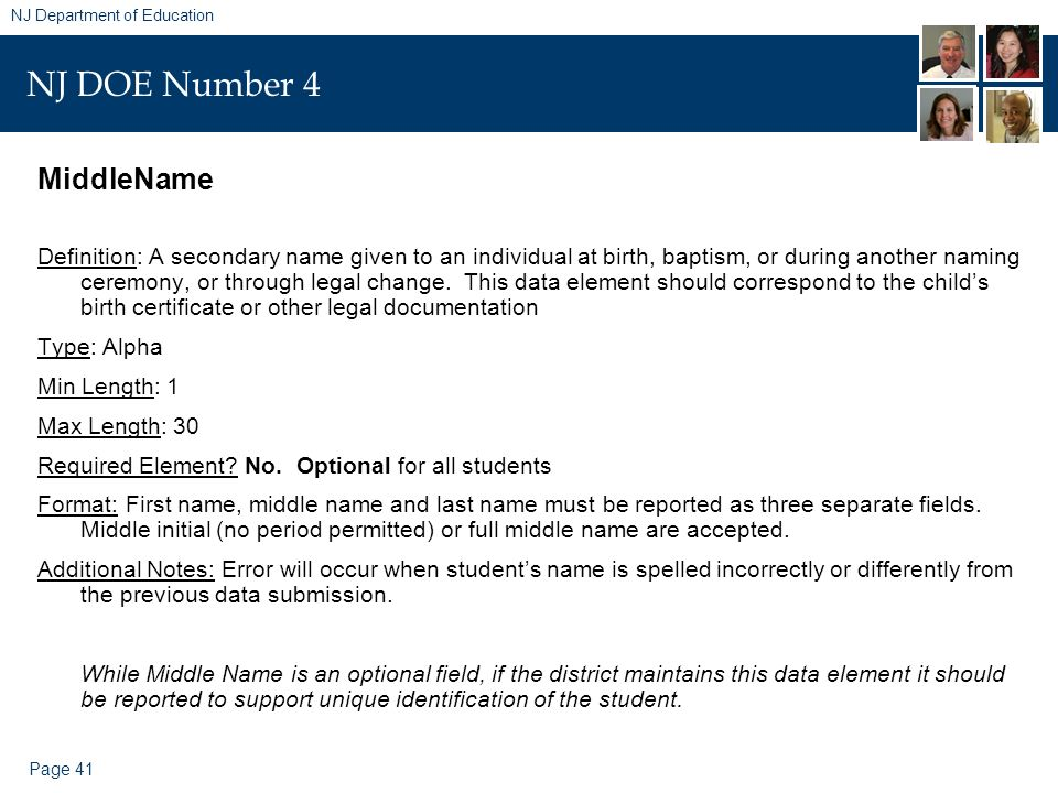 Page 41 NJ Department of Education NJ DOE Number 4 MiddleName Definition: A secondary name given to an individual at birth, baptism, or during another