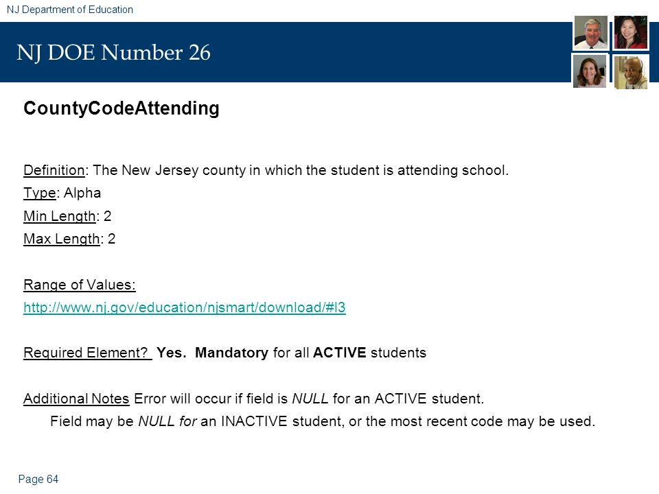 Page 64 NJ Department of Education NJ DOE Number 26 CountyCodeAttending Definition: The New Jersey county in which the student is attending school. Ty