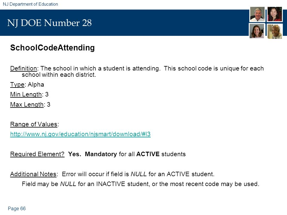 Page 66 NJ Department of Education NJ DOE Number 28 SchoolCodeAttending Definition: The school in which a student is attending. This school code is un