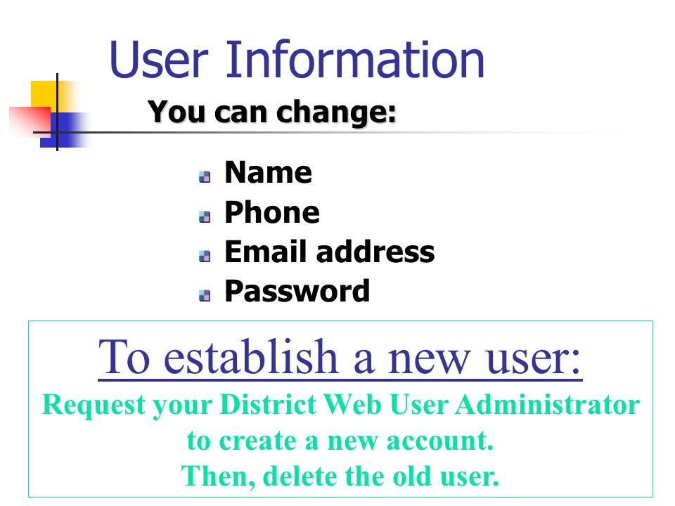 User Information Name Phone Email address Password To establish a new user: Request your District Web User Administrator to create a new account.