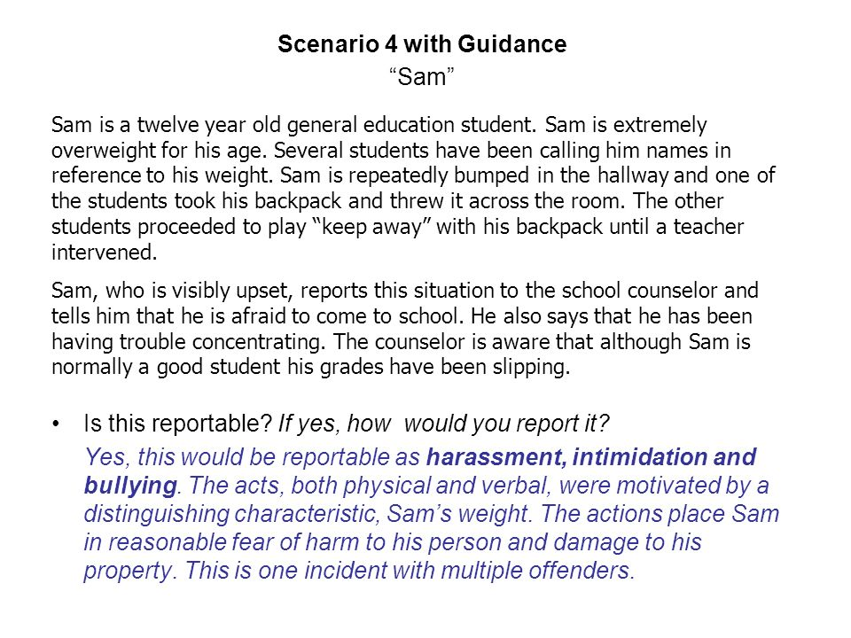 Scenario 4 with Guidance Sam Is this reportable. If yes, how would you report it.