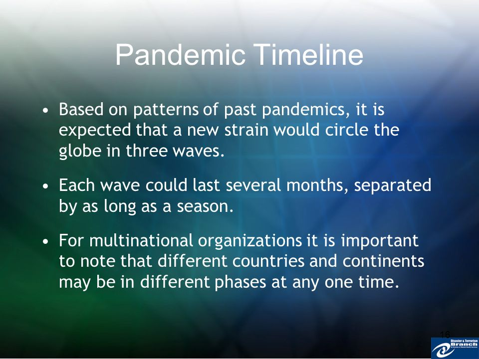 16 Pandemic Timeline Based on patterns of past pandemics, it is expected that a new strain would circle the globe in three waves. Each wave could last