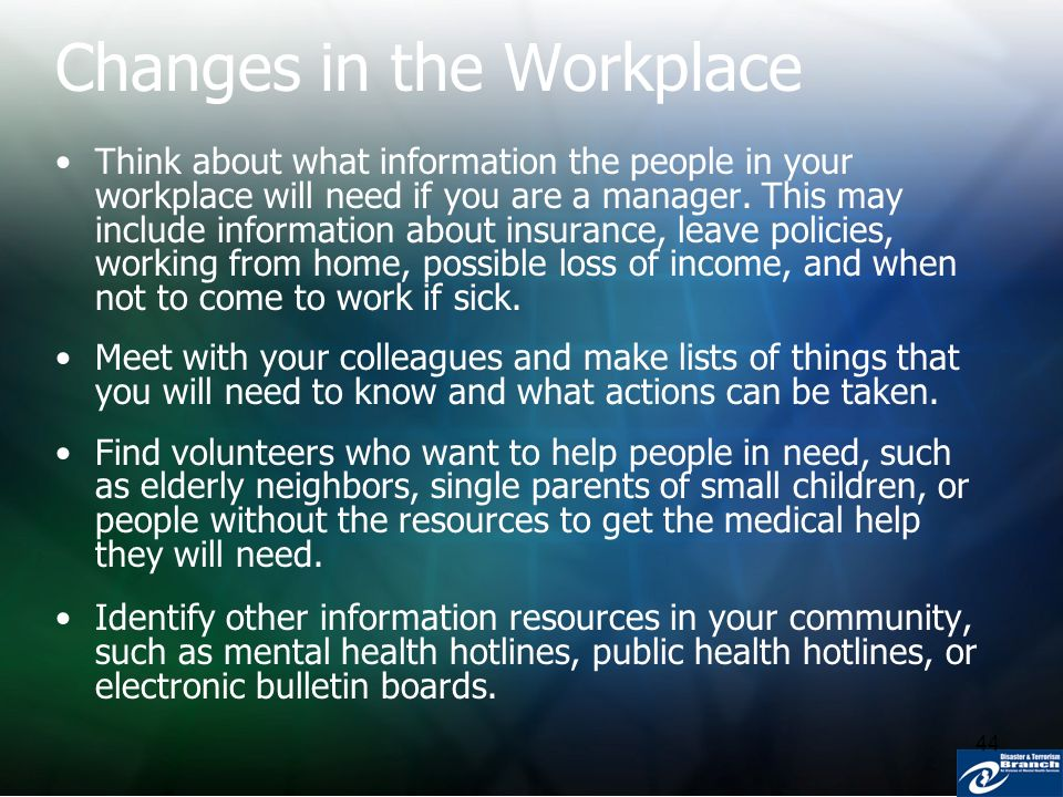 44 Changes in the Workplace Think about what information the people in your workplace will need if you are a manager. This may include information abo