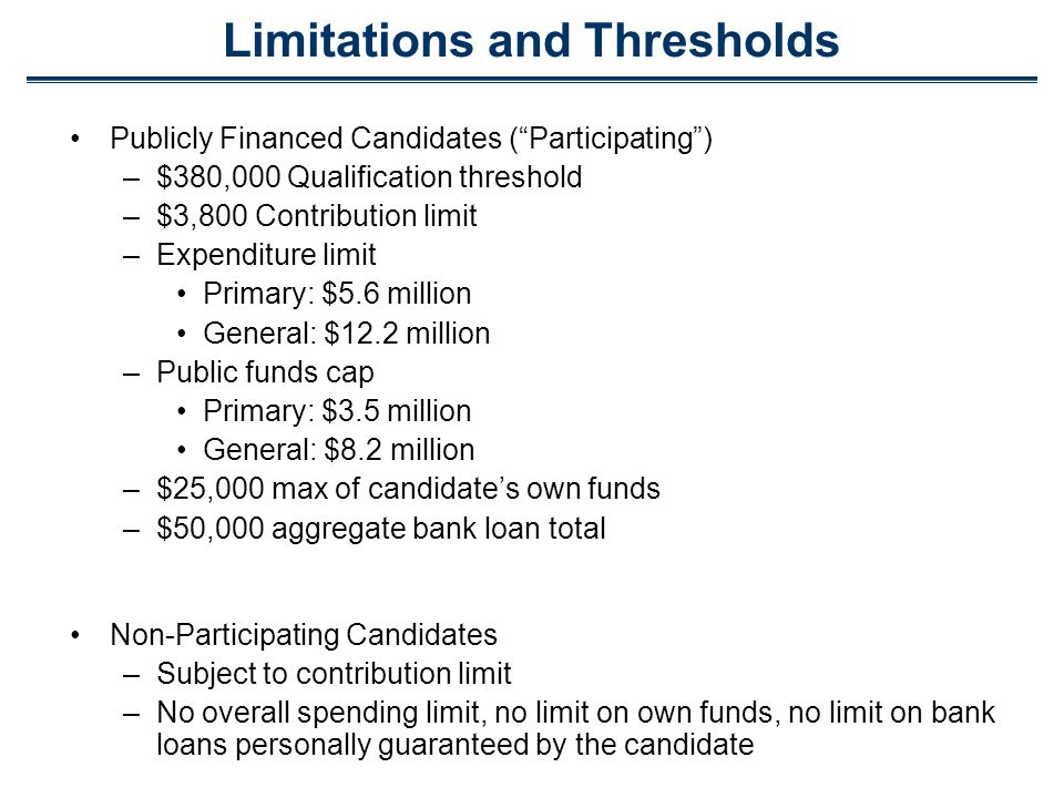 Limitations and Thresholds Publicly Financed Candidates (Participating) –$380,000 Qualification threshold –$3,800 Contribution limit –Expenditure limi