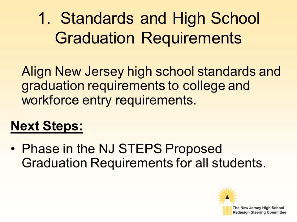 1. Standards and High School Graduation Requirements Align New Jersey high school standards and graduation requirements to college and workforce entry
