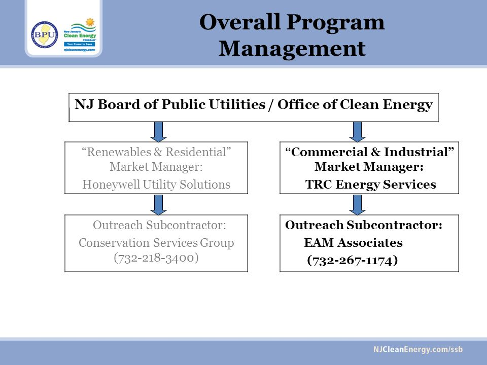Overall Program Management NJ Board of Public Utilities / Office of Clean Energy Renewables & Residential Market Manager: Honeywell Utility Solutions Commercial & Industrial Market Manager: TRC Energy Services Outreach Subcontractor: Conservation Services Group (732-218-3400) Outreach Subcontractor: EAM Associates (732-267-1174)