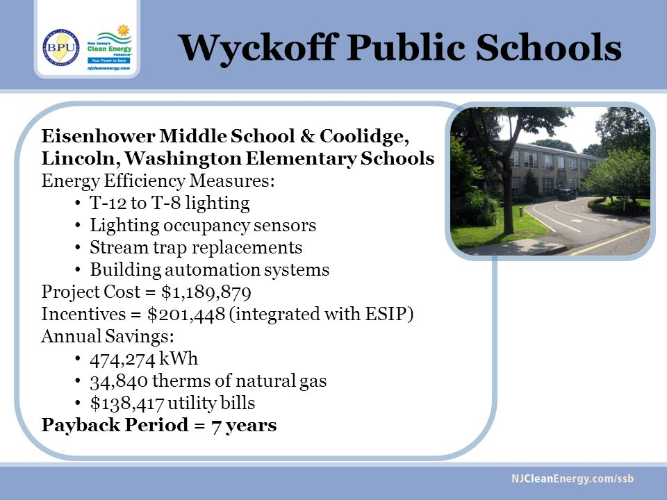 Eisenhower Middle School & Coolidge, Lincoln, Washington Elementary Schools Energy Efficiency Measures: T-12 to T-8 lighting Lighting occupancy sensors Stream trap replacements Building automation systems Project Cost = $1,189,879 Incentives = $201,448 (integrated with ESIP) Annual Savings: 474,274 kWh 34,840 therms of natural gas $138,417 utility bills Payback Period = 7 years Wyckoff Public Schools