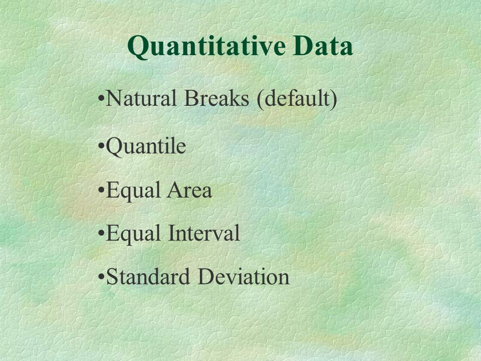 Natural Breaks (default) Quantile Equal Area Equal Interval Standard Deviation Quantitative Data