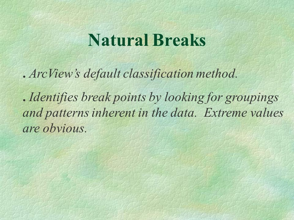 ArcViews default classification method..