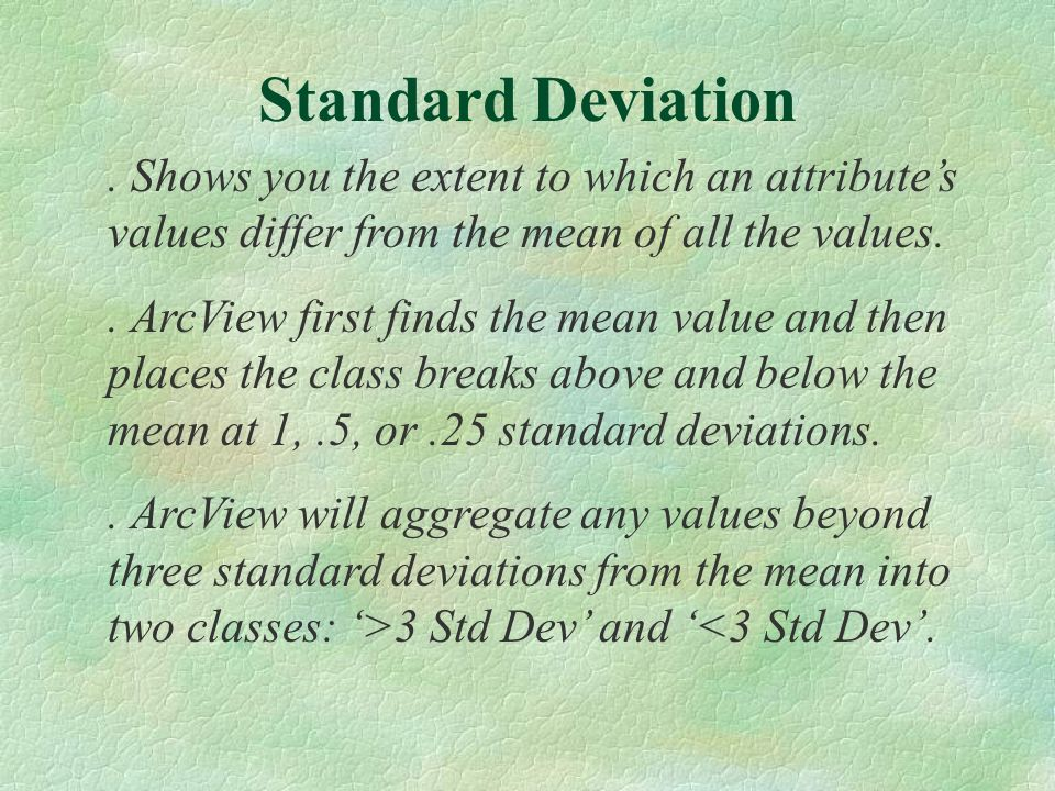 . Shows you the extent to which an attributes values differ from the mean of all the values.. ArcView first finds the mean value and then places the c