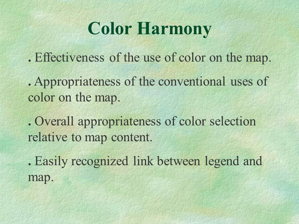 . Effectiveness of the use of color on the map.. Appropriateness of the conventional uses of color on the map.. Overall appropriateness of color selec