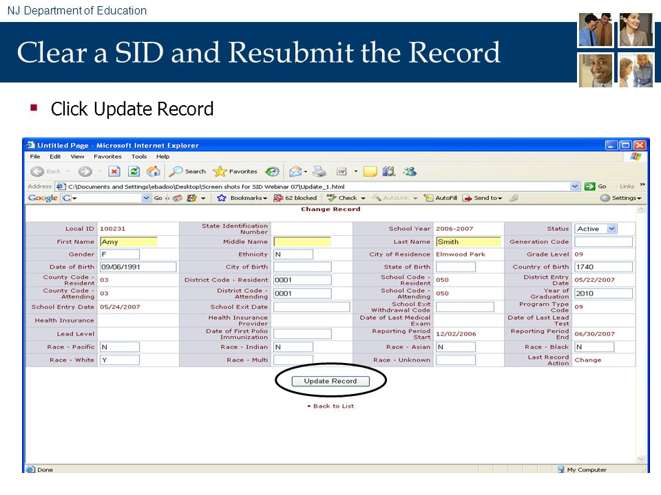 NJ Department of Education Clear a SID and Resubmit the Record Click Update Record