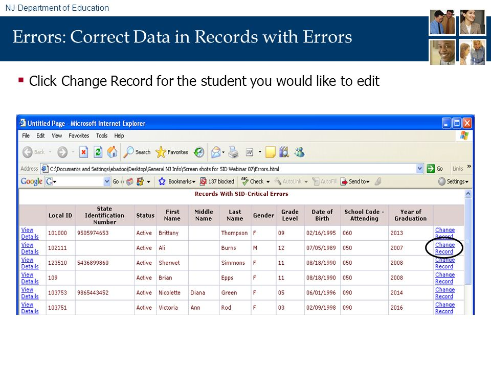 NJ Department of Education Errors: Correct Data in Records with Errors Click Change Record for the student you would like to edit