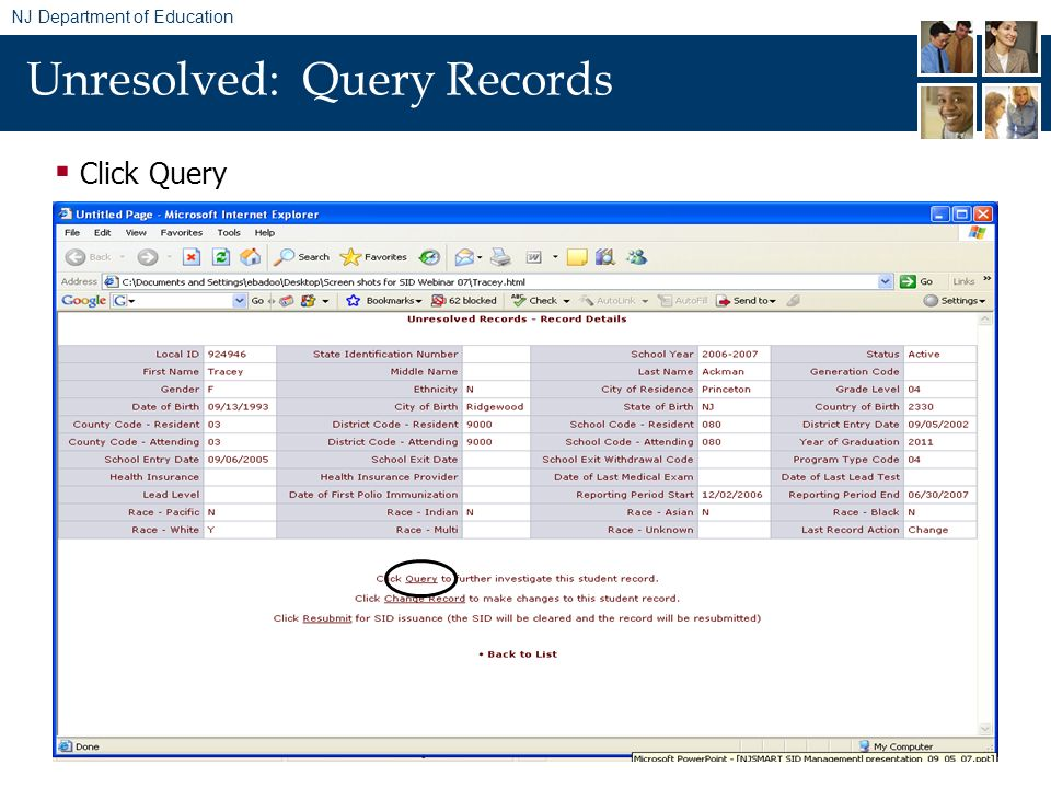 NJ Department of Education Unresolved: Query Records Click Query