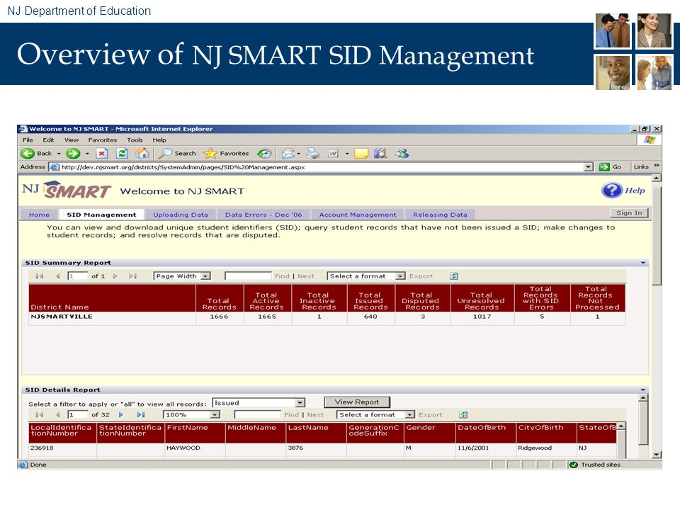 NJ Department of Education Overview of NJ SMART SID Management