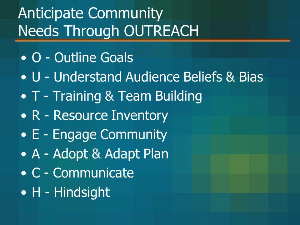 Anticipate Community Needs Through OUTREACH O - Outline Goals U - Understand Audience Beliefs & Bias T - Training & Team Building R - Resource Invento