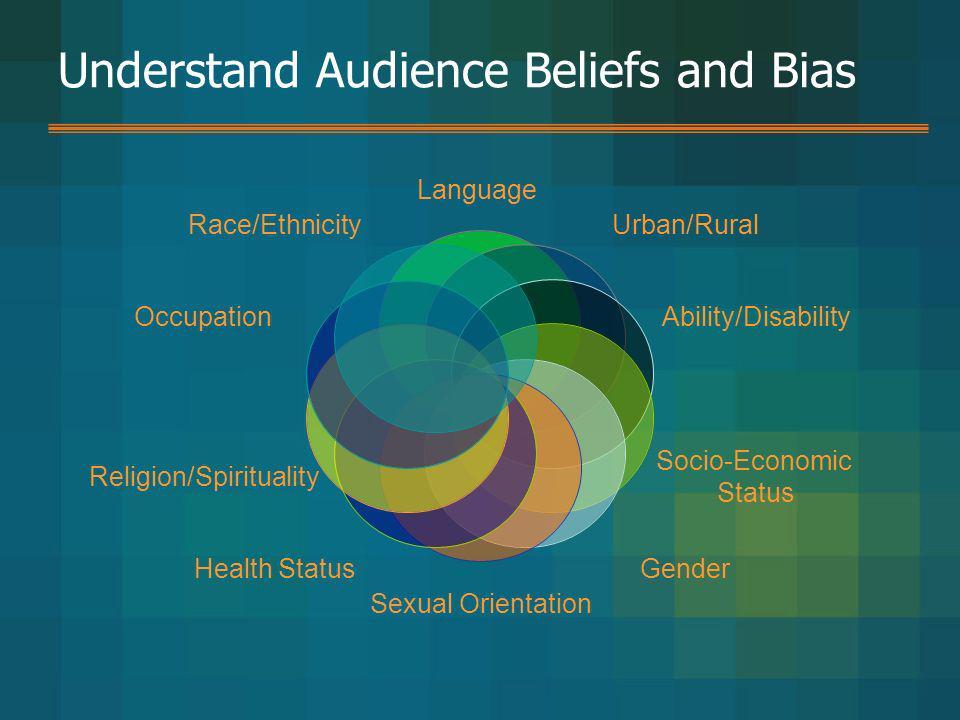 Understand Audience Beliefs and Bias Language Urban/Rural Ability/Disability Socio-Economic Status Gender Sexual Orientation Health Status