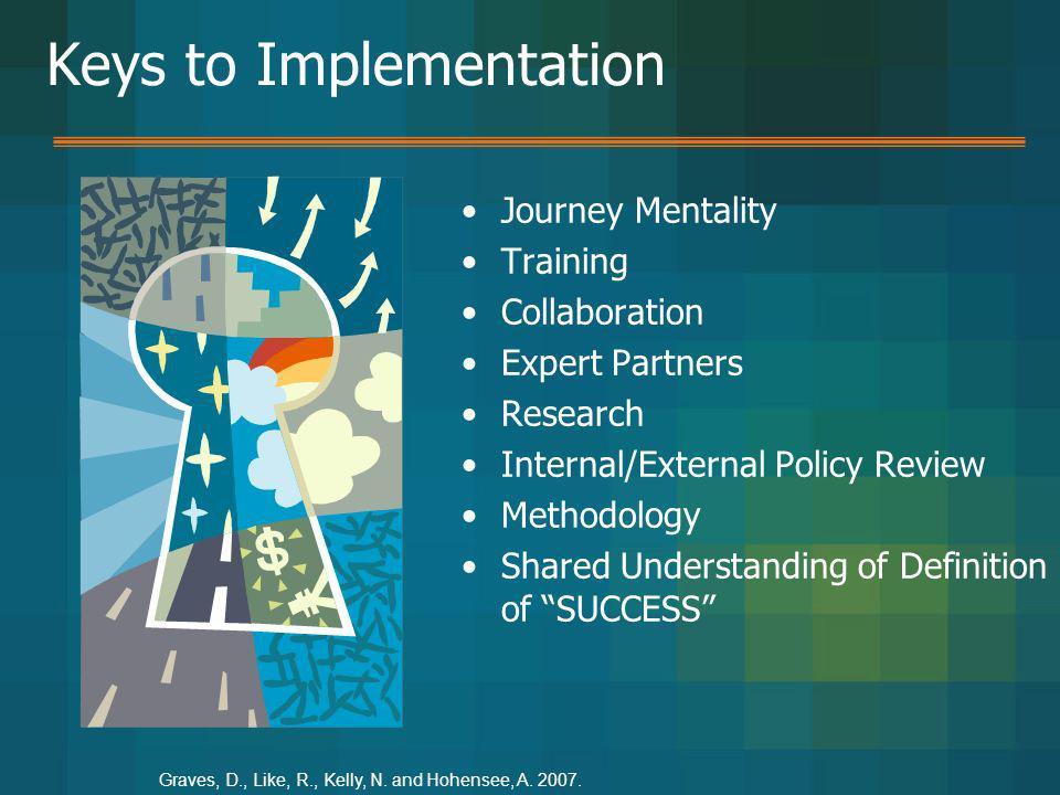 Keys to Implementation Journey Mentality Training Collaboration Expert Partners Research Internal/External Policy Review Methodology Shared Understand