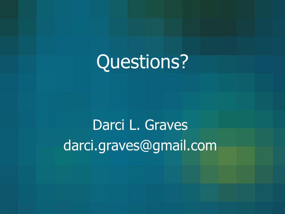 Questions? Darci L. Graves darci.graves@gmail.com