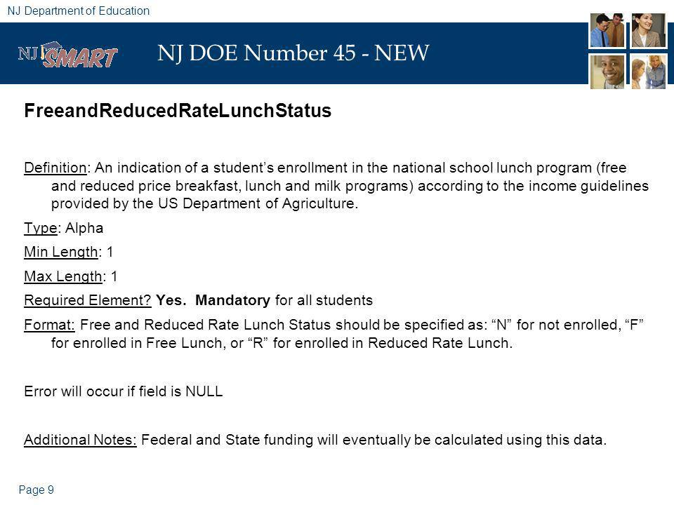 Page 9 NJ Department of Education NJ DOE Number 45 - NEW FreeandReducedRateLunchStatus Definition: An indication of a students enrollment in the natio
